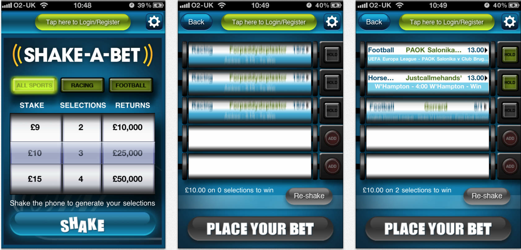 shake a bet screen shots