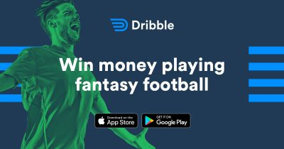 Dribble promo graphic - fantasy football betting on iphone or android