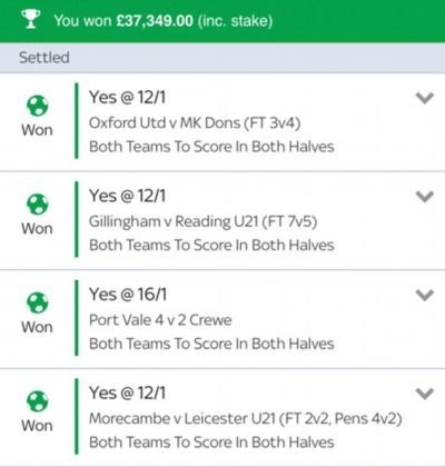 Check out how this Punter wins £37,000 on a BTTS both haves bet