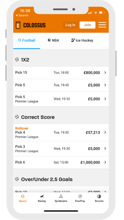 Football betting on Colossus bets home