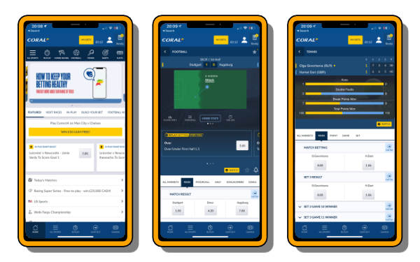 Screenshots of one of the best betting apps Coral